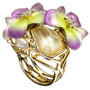 Ophelia Gold Jeweled Pansy Ring
