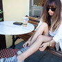 (vintage silk blazer, Topshop scalloped shorts, Converse chucks, Michael Kors watch, Whyred sunglasses, Bulgari Save the Children ring)