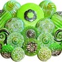 Green Vintage Czech Glass Buttons with Silver and Iridescent Luster