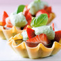 Chocolate Tartlets with Marinated Strawberries and Sweet Basil Cream