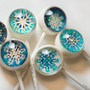 6 Metallic Snowflake Lollipops TM Designer Lollipop Frozen Movie