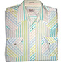 Vintage 70s Pastel Striped Pearl Snap Button Up Short Sleeve Shirt Mens Size 16 (Large)