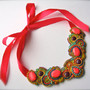BOHEMIAN RHAPSODY soutache neon statement necklace in pink, orange, lime green, turquoise, purple and gold