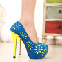 Contrast Color Ultra High Stiletto Heel Platform Pump