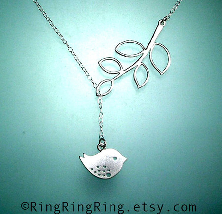 White Gold bird and branch Adjustable Sterling silver necklace