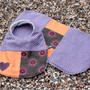 Baby bib and burp set - (purple and orange)