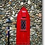 Red Door Window Metal Print By Janine Riley