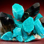 Amazonite crystals with Smoky Quartz and Albite