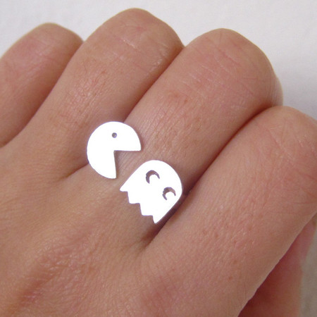 pac-man sterling silver ring