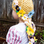 Child Rapunzel Hair Crochet Hat with Braid