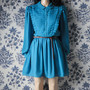 turquoise pleated peter pan collar dress / mini tea dress / m