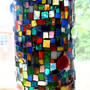 Mosaic Vase, Candle Holder, Stained Glass, Multicolored, Home Decor - 7 inches x 3 inches