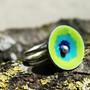 Enamel sterling silver ring - Green poppy