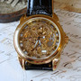 Golden Beauty See-Thru Mechanical Skeletal Wrist Watch with Black Leather-like Band   A-50
